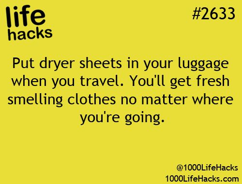 Dryer Sheets When You Travel