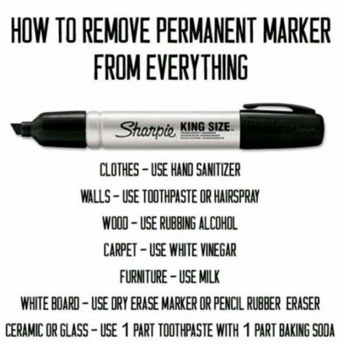 Cleaning Tip - Get permanent marker off everything with these laundry tips. Also...