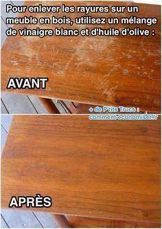 Comment supprimer rayures blanches sur meuble en bois                           ...