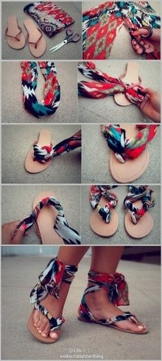 Make some clever, colorful sandals with leftover fabric.   Community Post: 31 Cr...