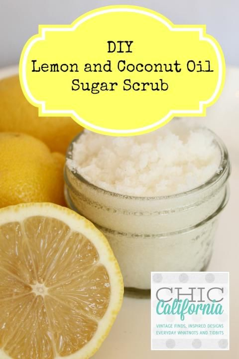 DIY Lemon and Coconut Oil Sugar scrub. Love the one I received as a gift! Can&#3...