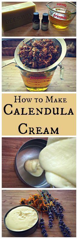 How to Make Calendula Cream~ A healing lotion or body butter made with calendula...