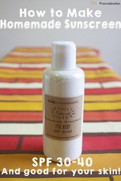 how-to-make-homemade-sunscreen 1/4 cup shea butter 2 tbsp jojoba oil 2 tbsp bees...