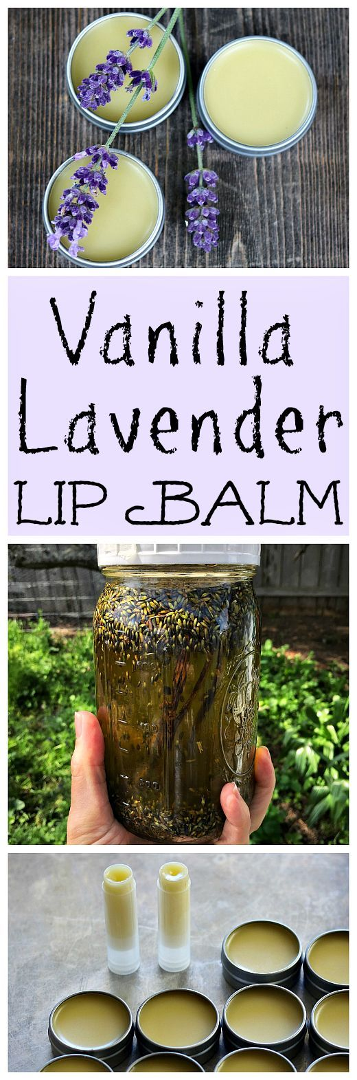 Make your own homemade vanilla lavender lip balm. It's an easy DIY herbal pr...