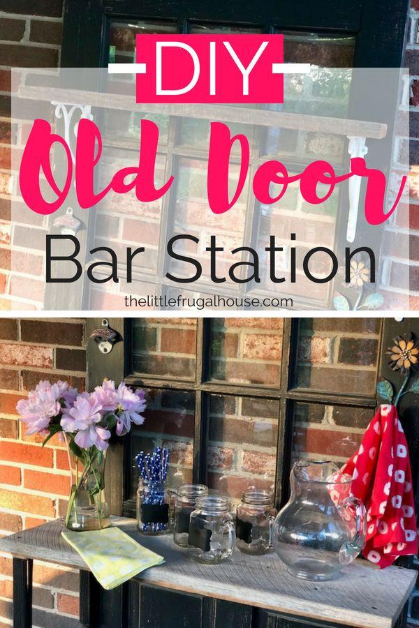 DIY Repurposed Door Bar Station - The Little Frugal House