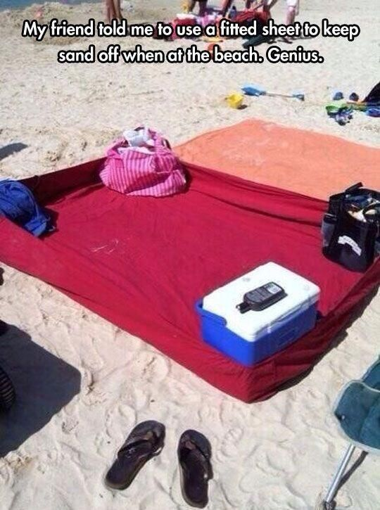 Fitted sheet? Not sure this would keep sand off...and might be a tripping hazard...