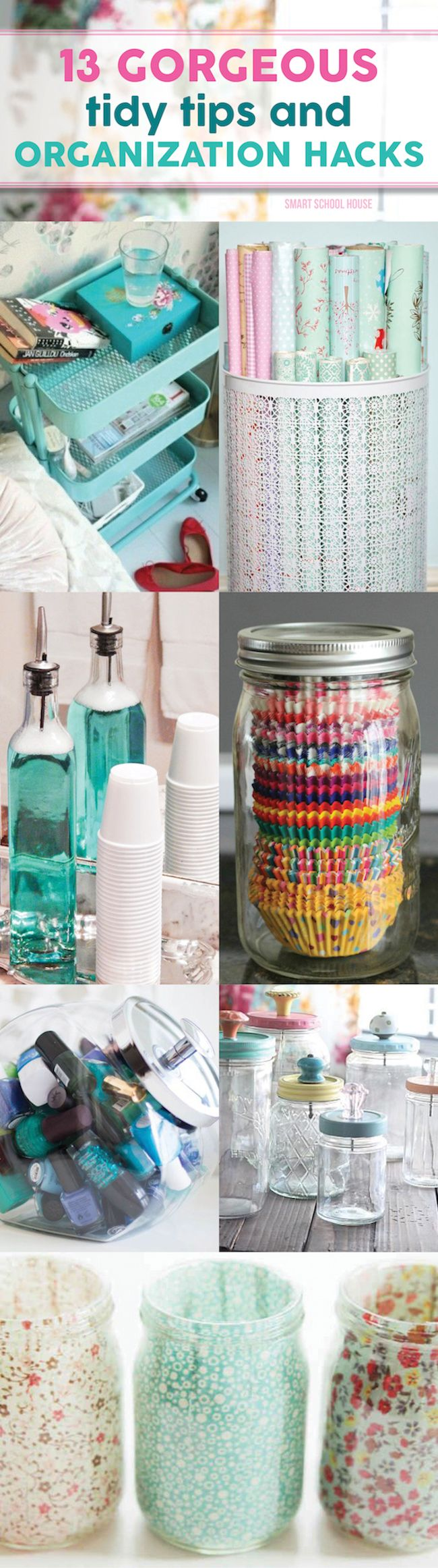 Gorgeous Tidy Tips and Organization Hacks. DIY home and house life hacks and tip...