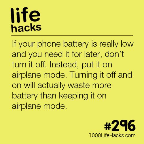 If your phone battery is really low and you need it for later, don't turn it o...