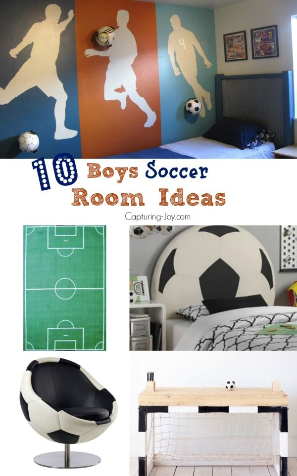 10 Boys Soccer Room Ideas. Wall decor, soccer room decor, soccer bedding. www.kr...