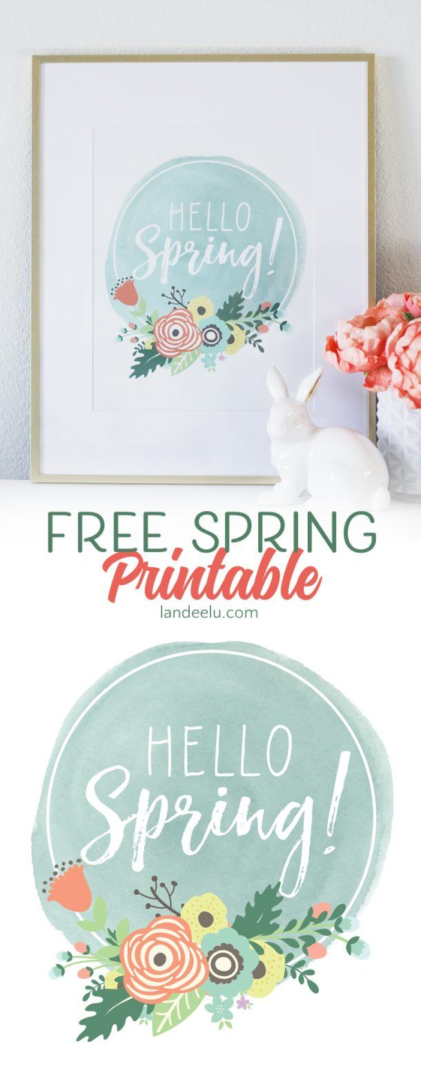 A fresh and pretty free spring printable to say HELLO SPRING! Download, print an...