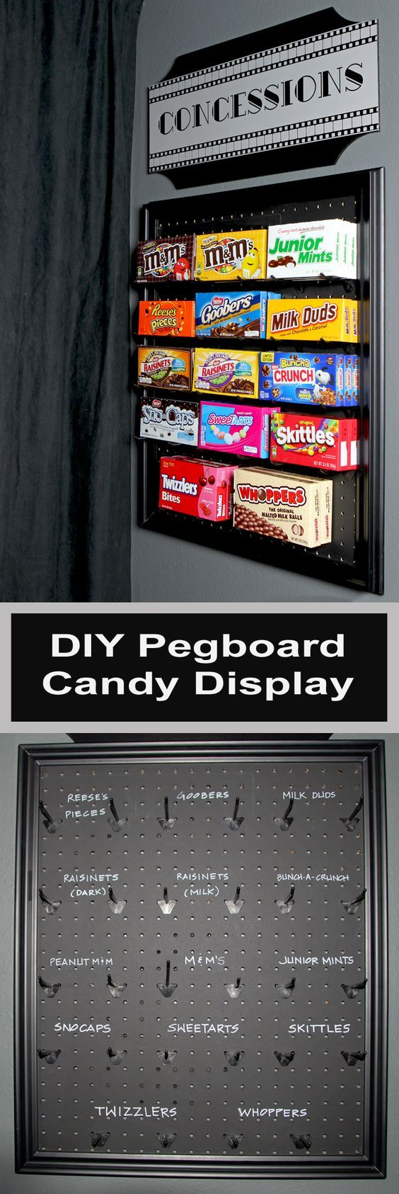 An easy DIY project using pegboard and chalkboard paint to make a fun display fo...