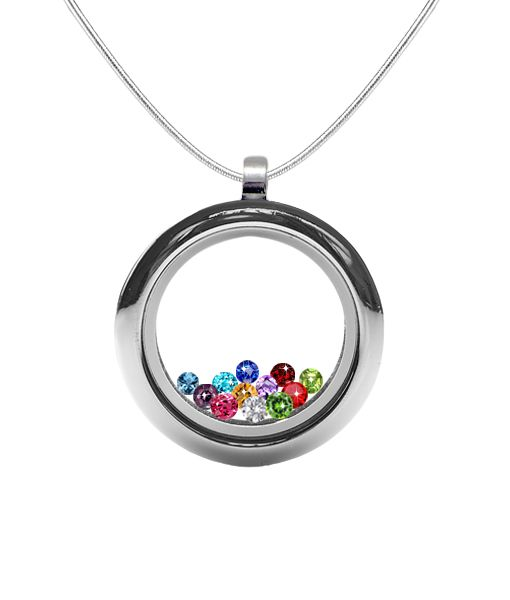 Circle Glass Locket Necklace with Birthstones