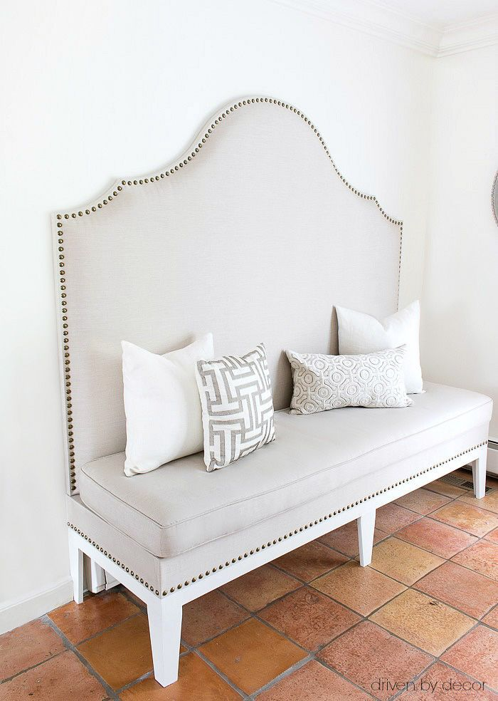 DIY upholstered kitchen banquette with nailhead trim - post includes full tutori...