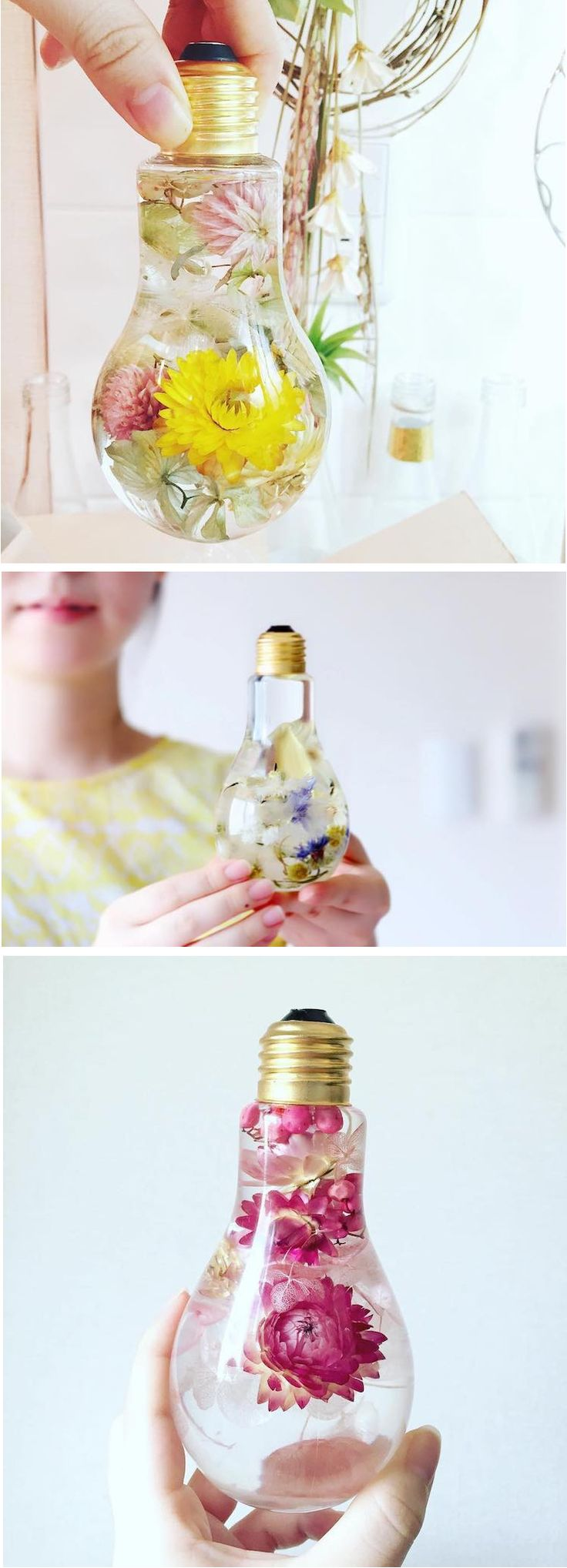 Display beautiful blooms in a unique flower light bulb vase.