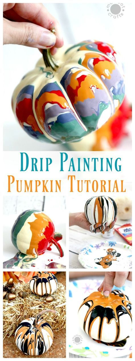 Drip Painting No Carve Pumpkin DIY for Halloween - Endless creativity and gorgeo...