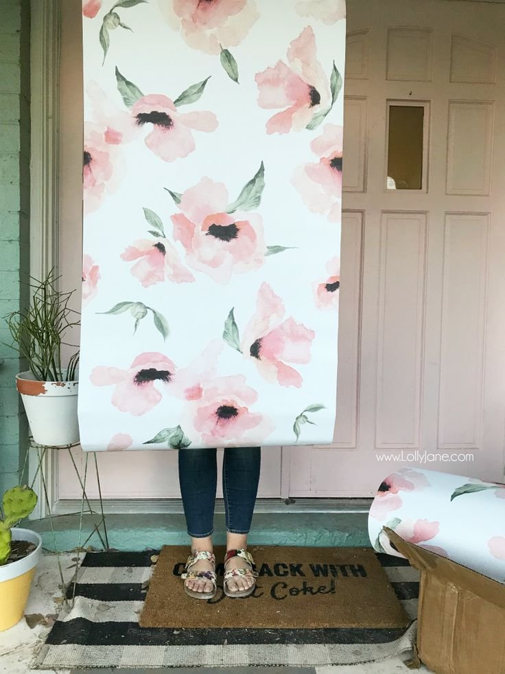 Diy Crafts Floral Peel And Stick Wallpaper Such Cute Bathroom
