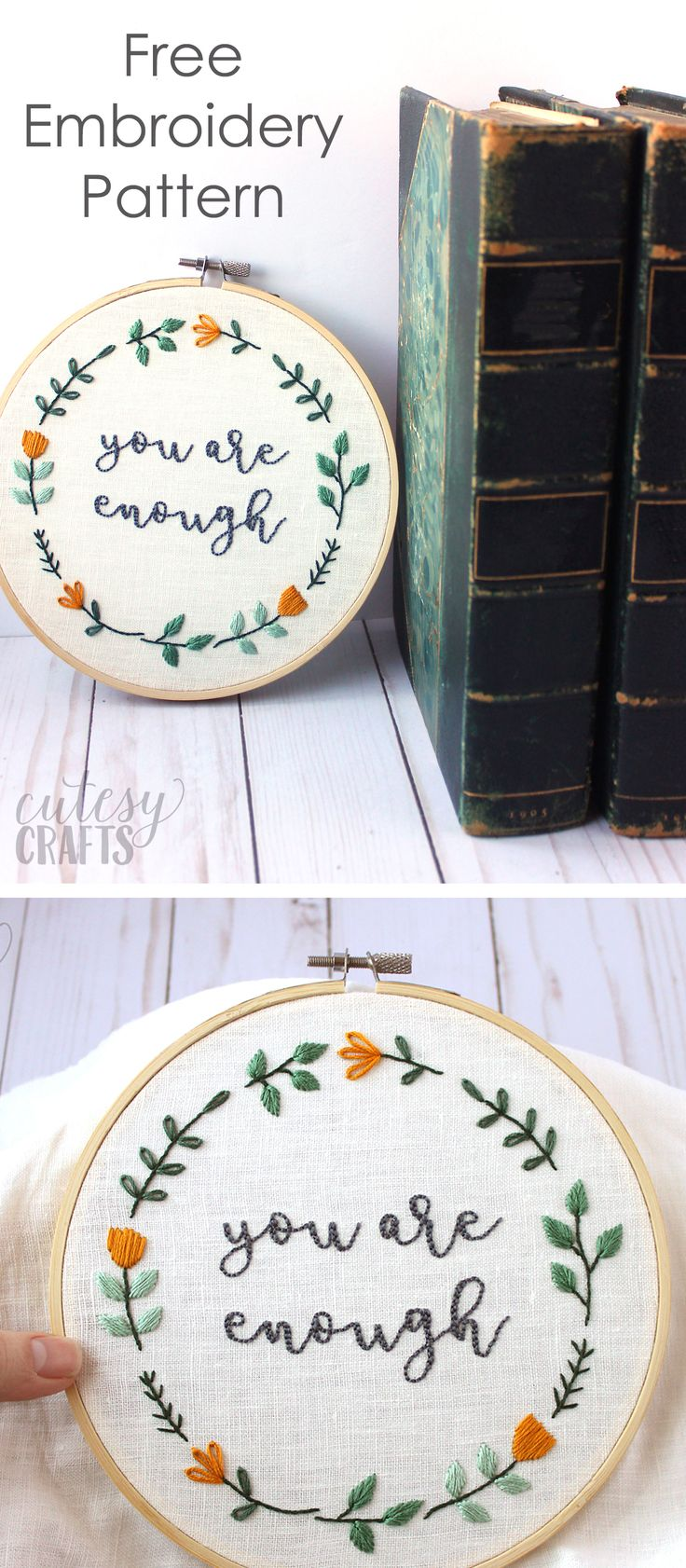 DIY Crafts : Free Hand Embroidery Pattern for an inspirational quote ...