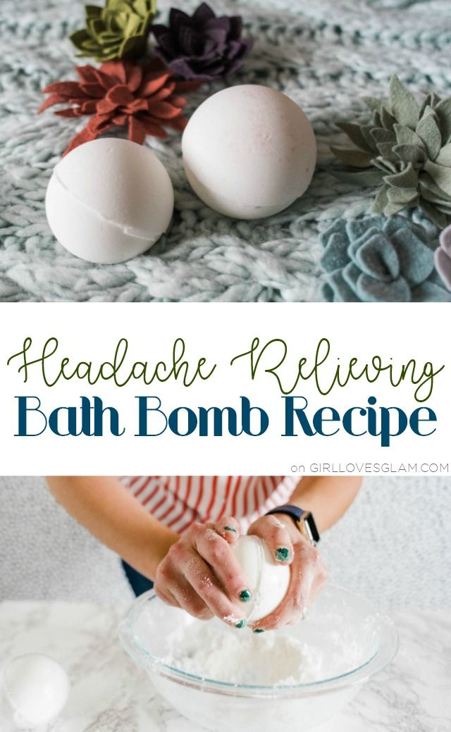 Headache Relieving Bath Bomb Recipe on www.girllovesglam...