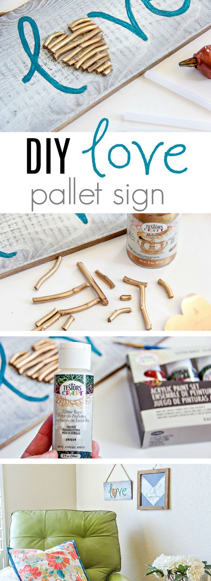 How To Make A Painted Love Sign Perfect For Valentine's Day - DIY Love Sign - St...
