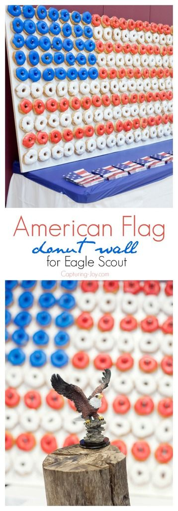 How to make an American Flag Donut wall for Eagle Scout award or 4th of July par...