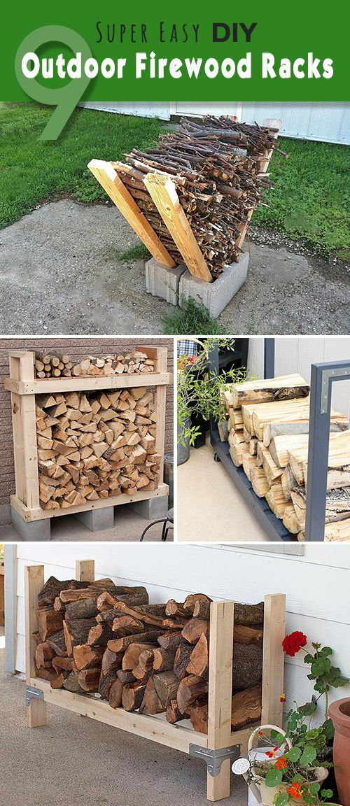 Lots of ideas, projects and tutorials for making firewood racks! • 9 Super Eas...