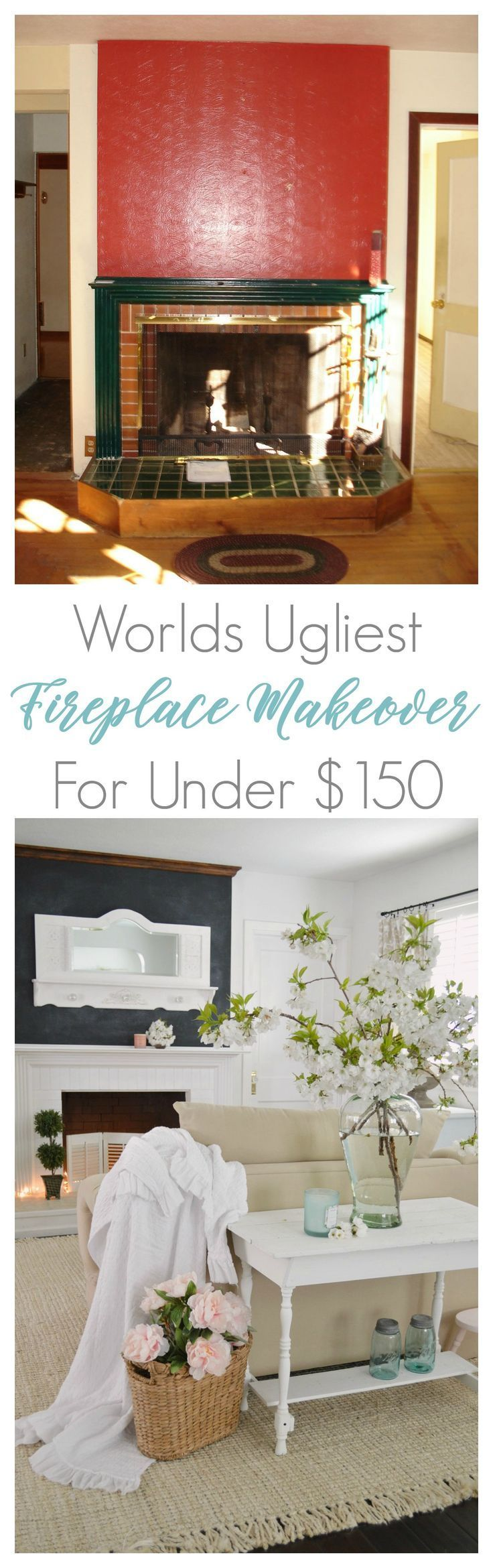 Mostly paint, budget friendly fixer upper fireplace makeover!! This DIY mantel h...