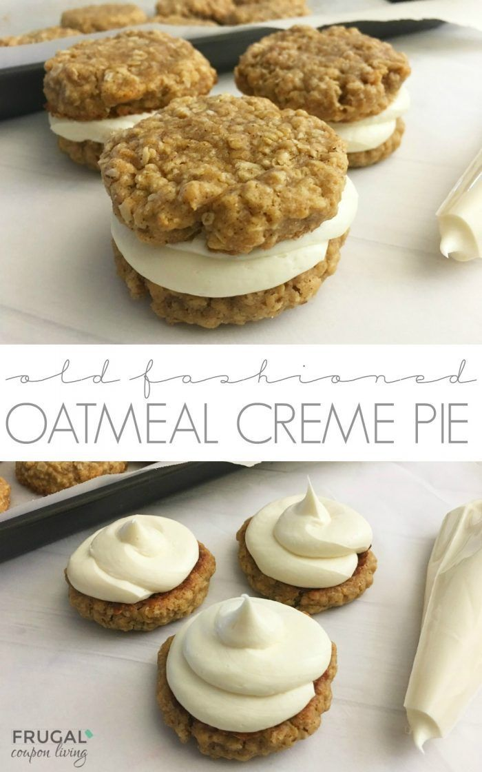 Old Fashioned Homemade Oatmeal Creme Pie Recipe on Frugal Coupon Living. Two sof...
