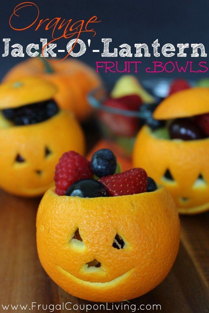 Orange Jack-O-Lantern Fruit Cups – Healthy  Treat Bowls - perfect for Hallowee...