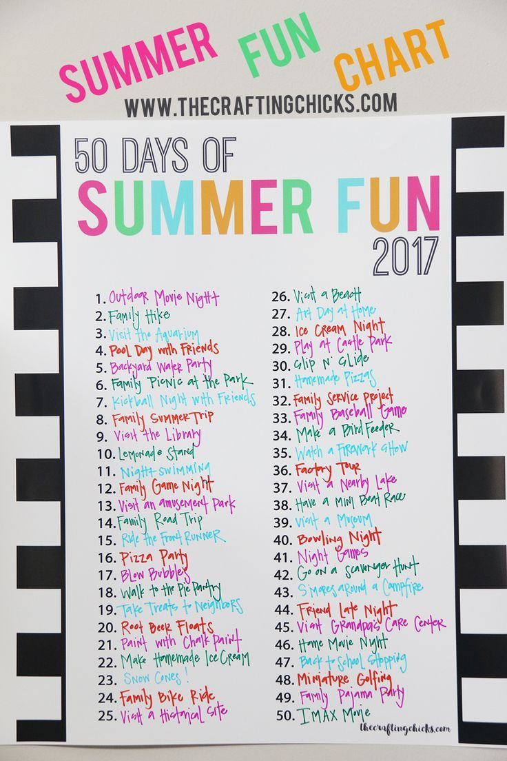 DIY Crafts : Printable Summer FUN Chart 2017 - The Crafting Chicks ...