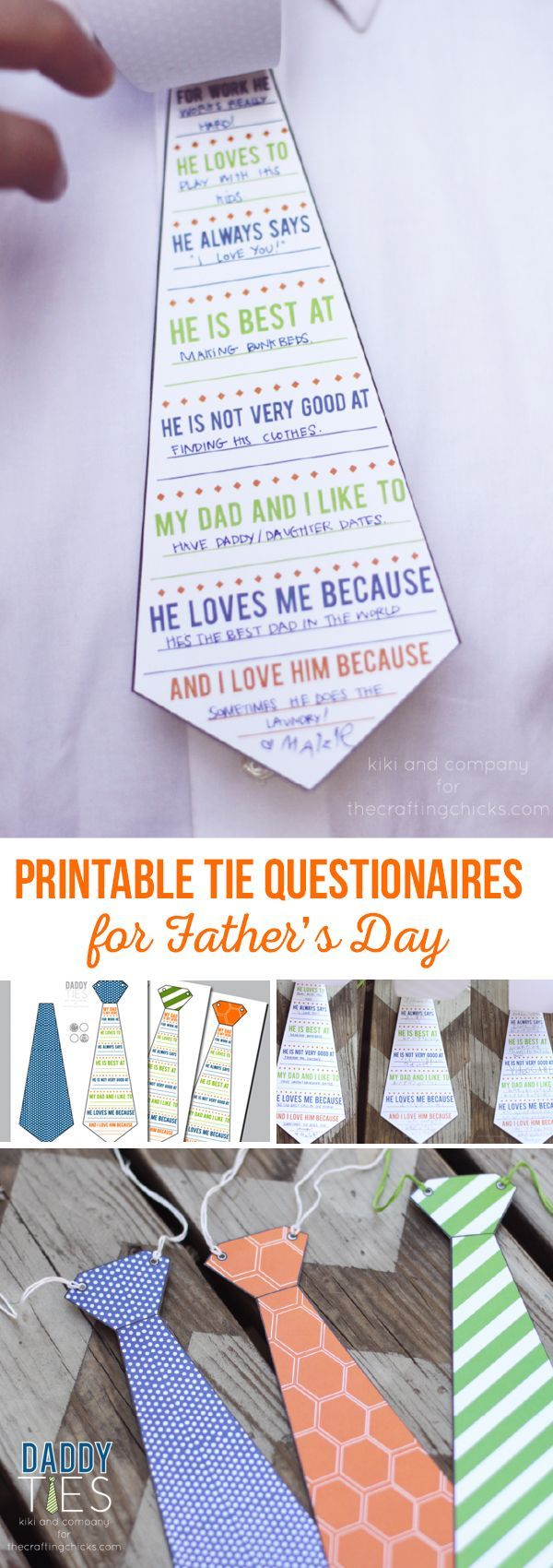 Printable Tie Questionnaires for Father's Day | A fun kids activity for Father's...