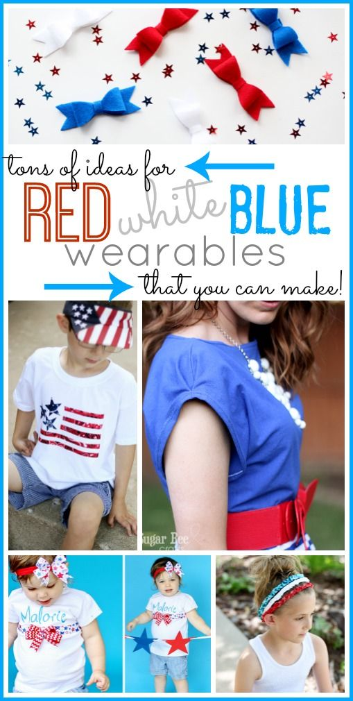 Red white blue outfits and accessories for 4th of july. Holiday outfit ideas. ww...