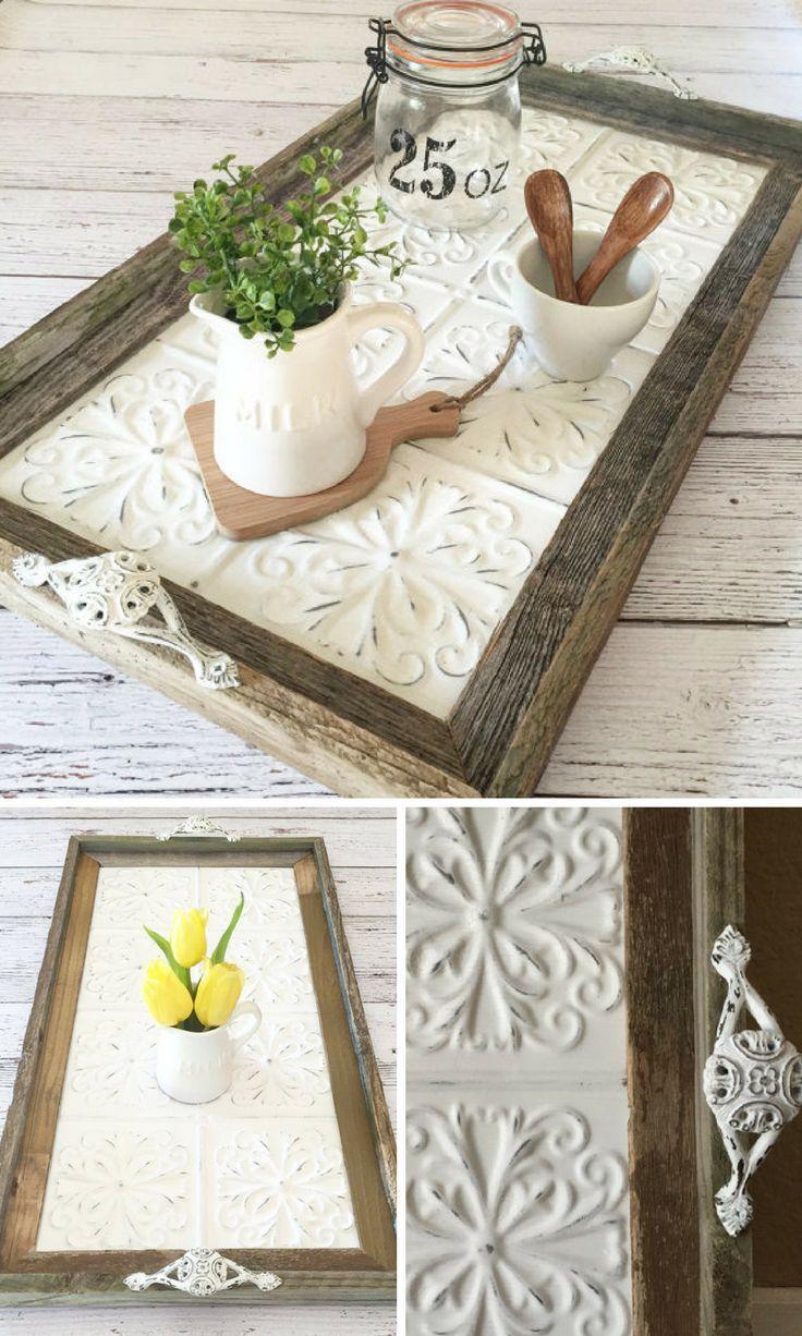 DIY Crafts : Serving Tray, Ceiling Tin Tray, Farmhouse Tray, Rustic ...