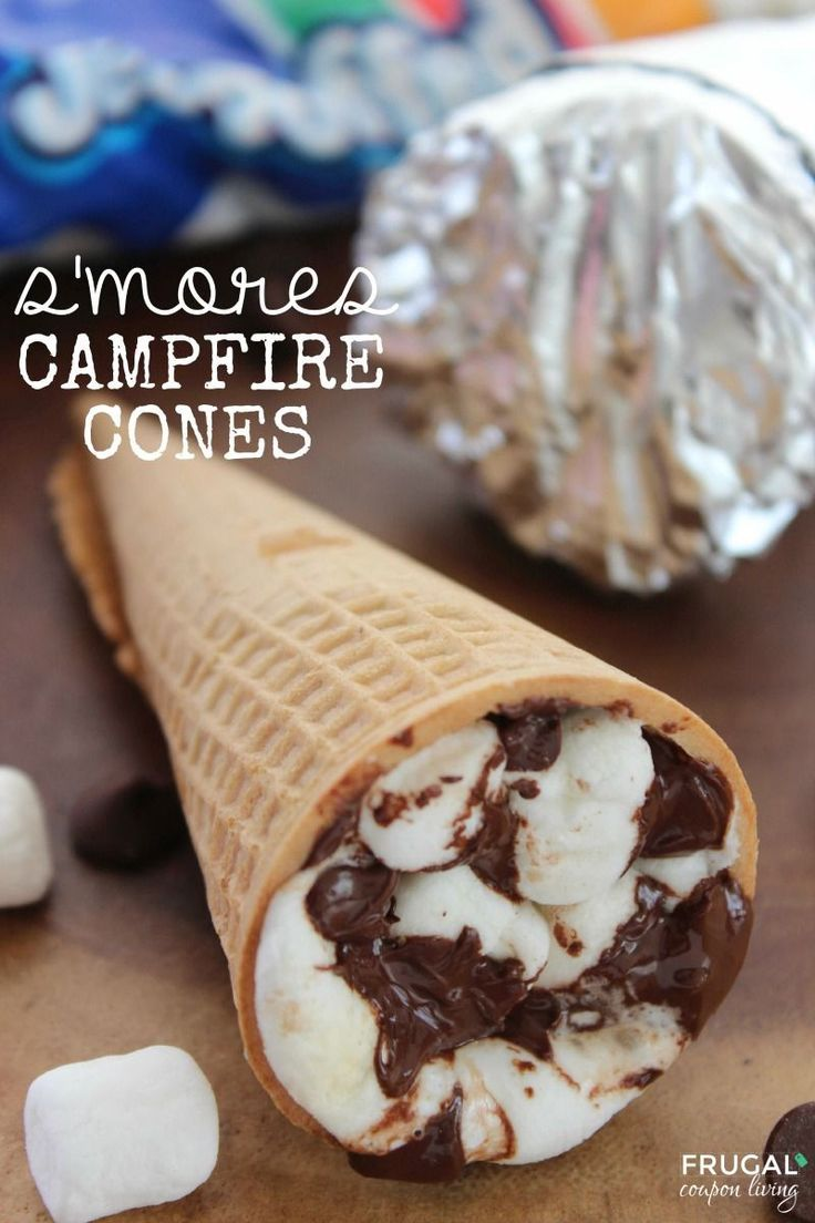 S'mores Campfire Cones - Smores recipe outside the graham cracker box on Frugal ...