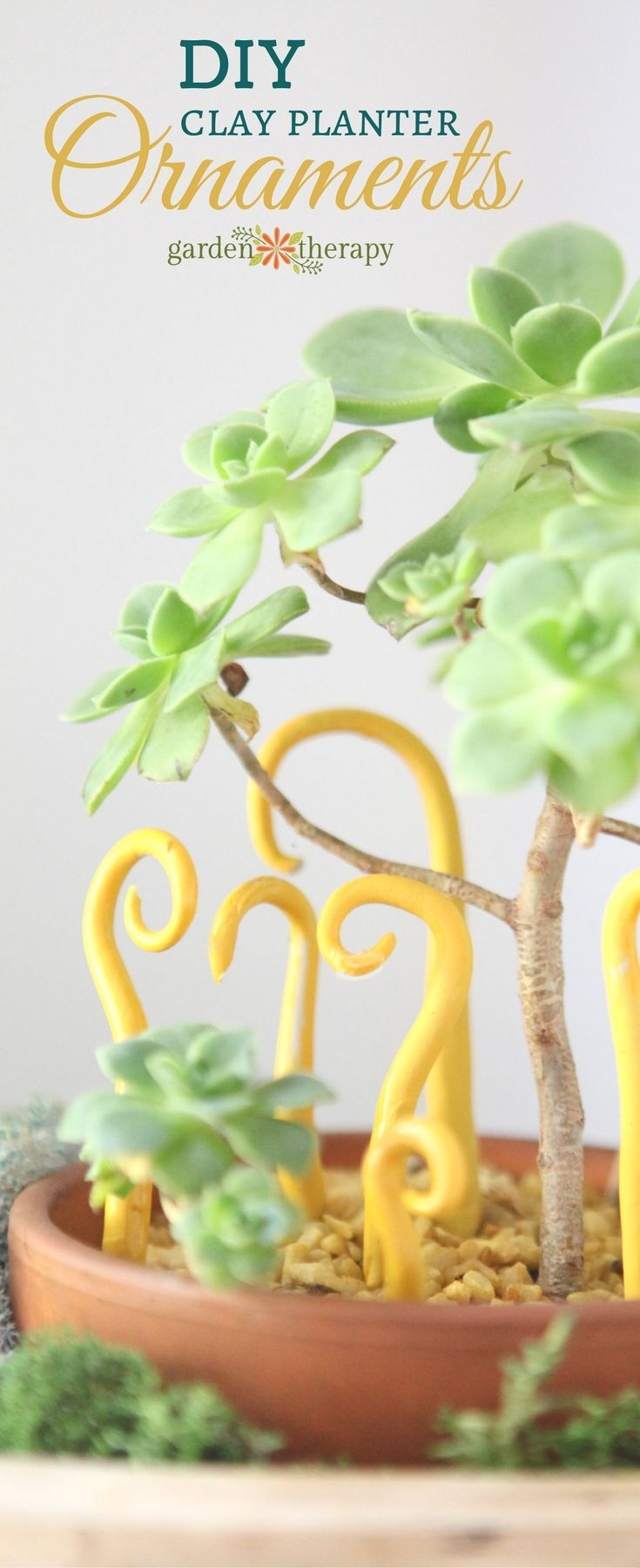 These clay planter ornaments are miniature sculptures that add a little pizzazz ...