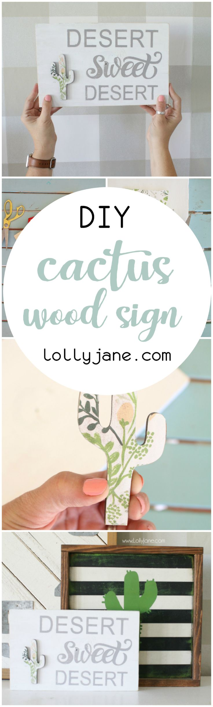 DIY Crafts : Uhm, LOVING this cute floral cactus wood sign!! Such a ...