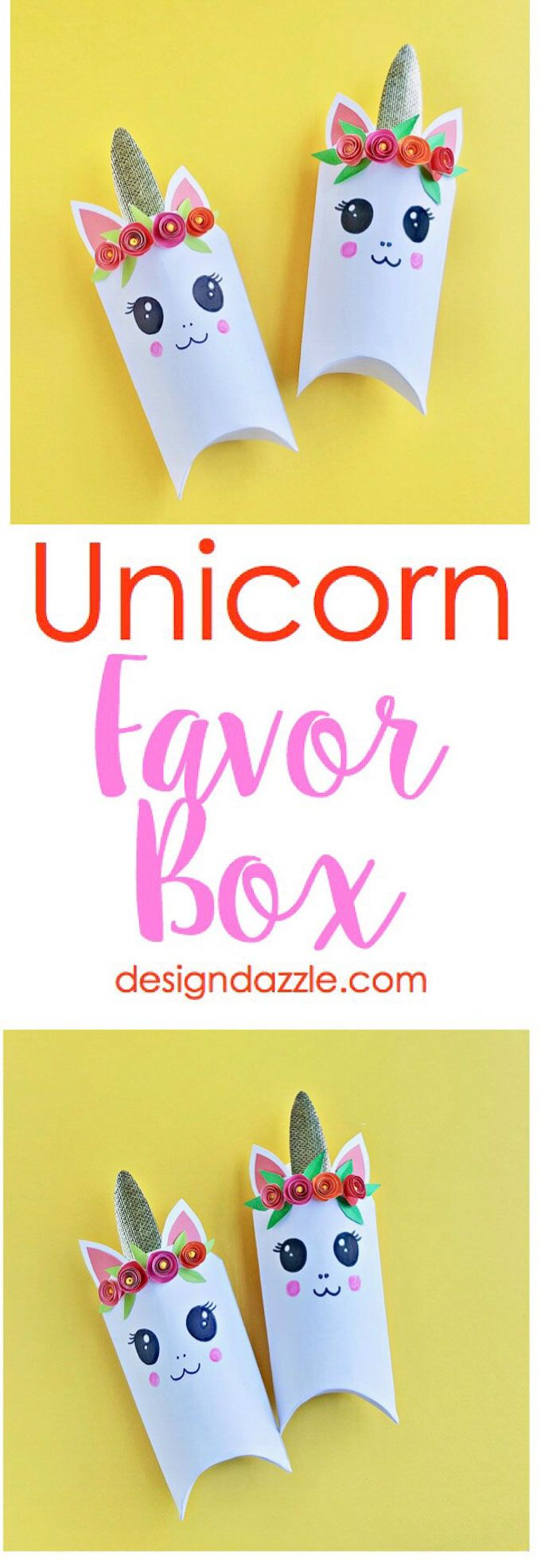Unicorns are all the rage these days! Here is an adorable unicorn favor box and ...