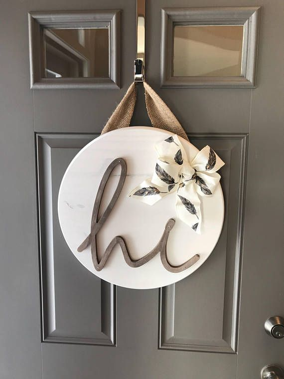 White Front Door Hanger, Door Hanging Decor, Sign For Front Door, Wood Door Deco...