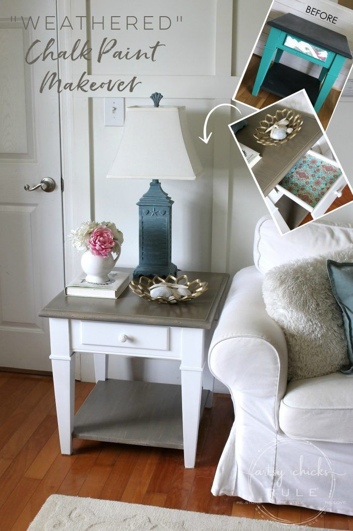 Coastal Style Chalk Paint Makeover (and FAUX Weathered Finish with just 2 paints...