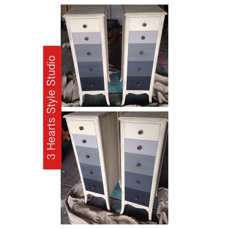 Custom painted Gray ombré antique chest of drawers. Perfect for Nursery furnitu...