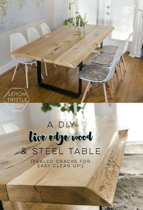 DIY Live Edge Wood Dining Room Table with Steel Legs... uhhhhm love this! So mod...