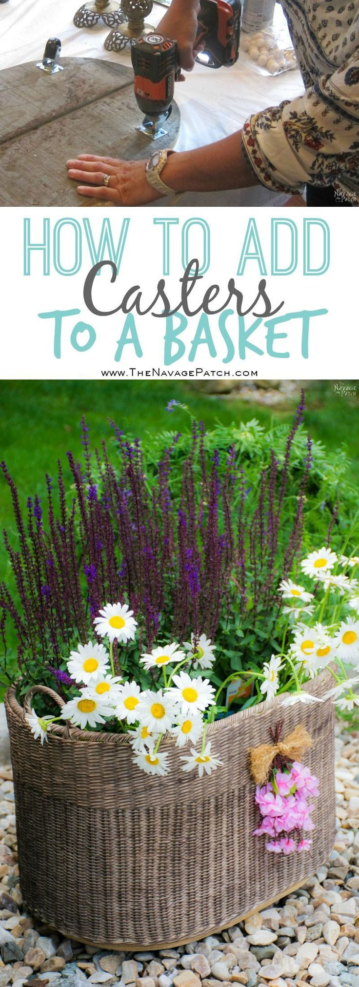 DIY Planter Basket {with casters}   How to add casters to a basket   DIY painted...