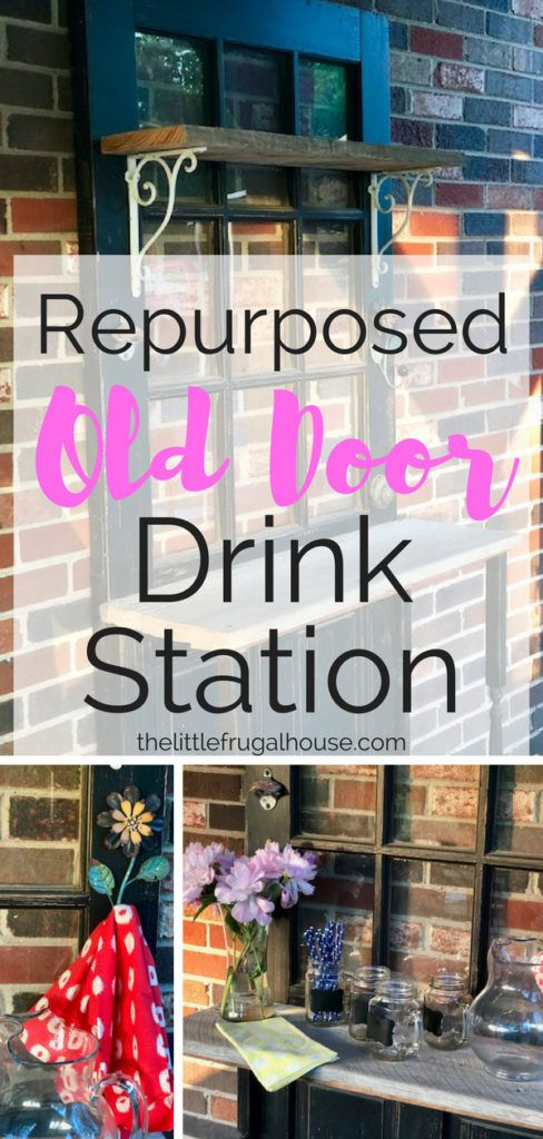 DIY Repurposed Door Bar Station - The Little Frugal House