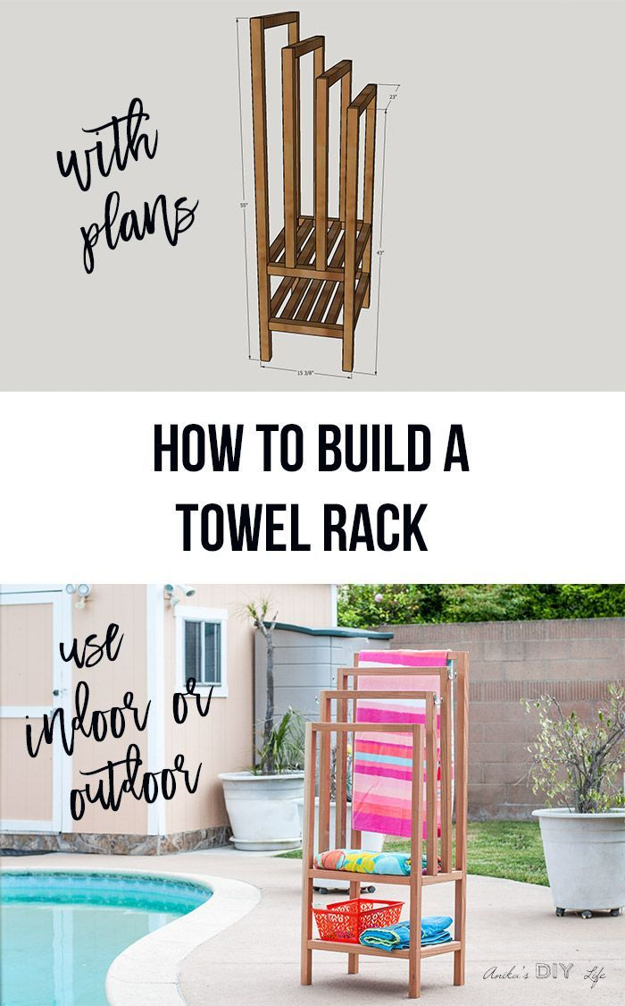 DIY outdoor freestanding towel rack. Pool towel rack with shelves. Can be used i...