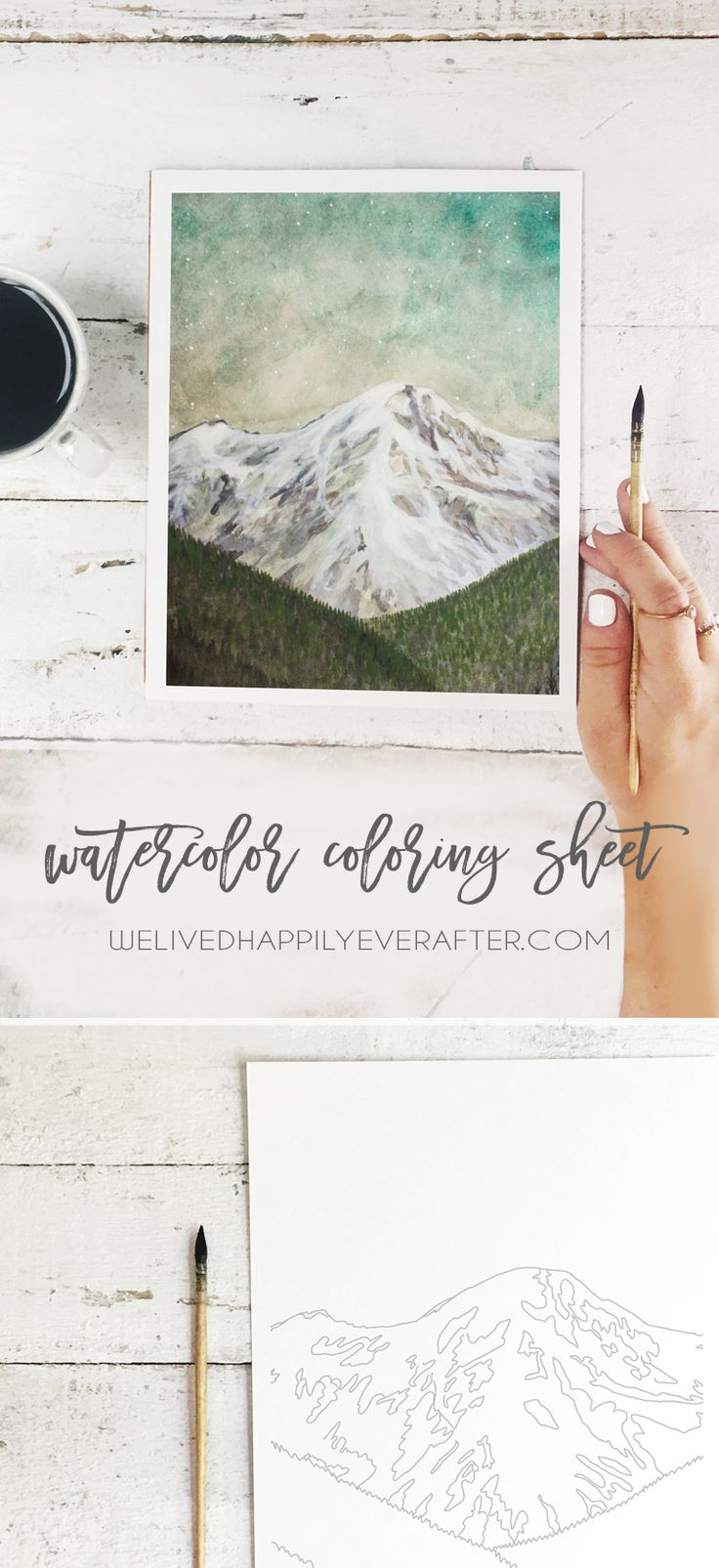Free Printable Mountain Watercolor Adult Coloring Book Page Sheet