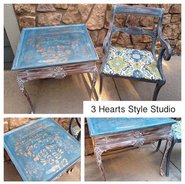 Gold, blue and white distressed side table. Custom painted furniture Denver and ...