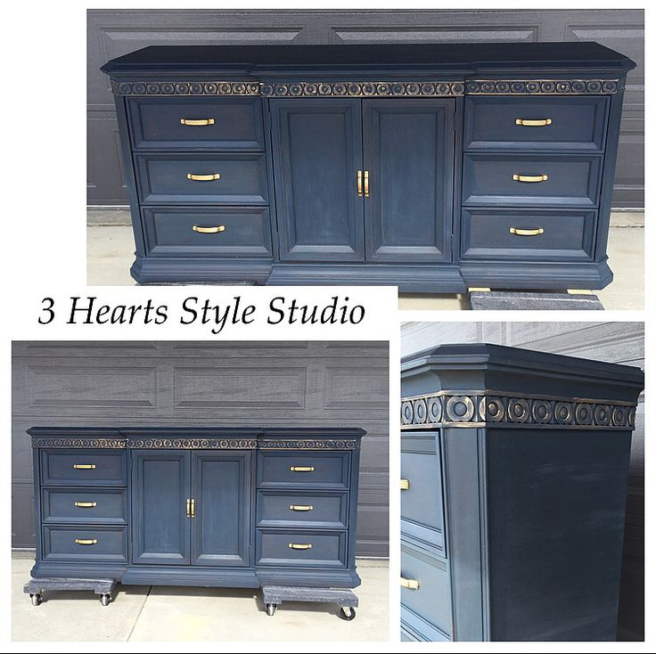 Navy buffet with gold detailing. To find more items like this one, check out my ...