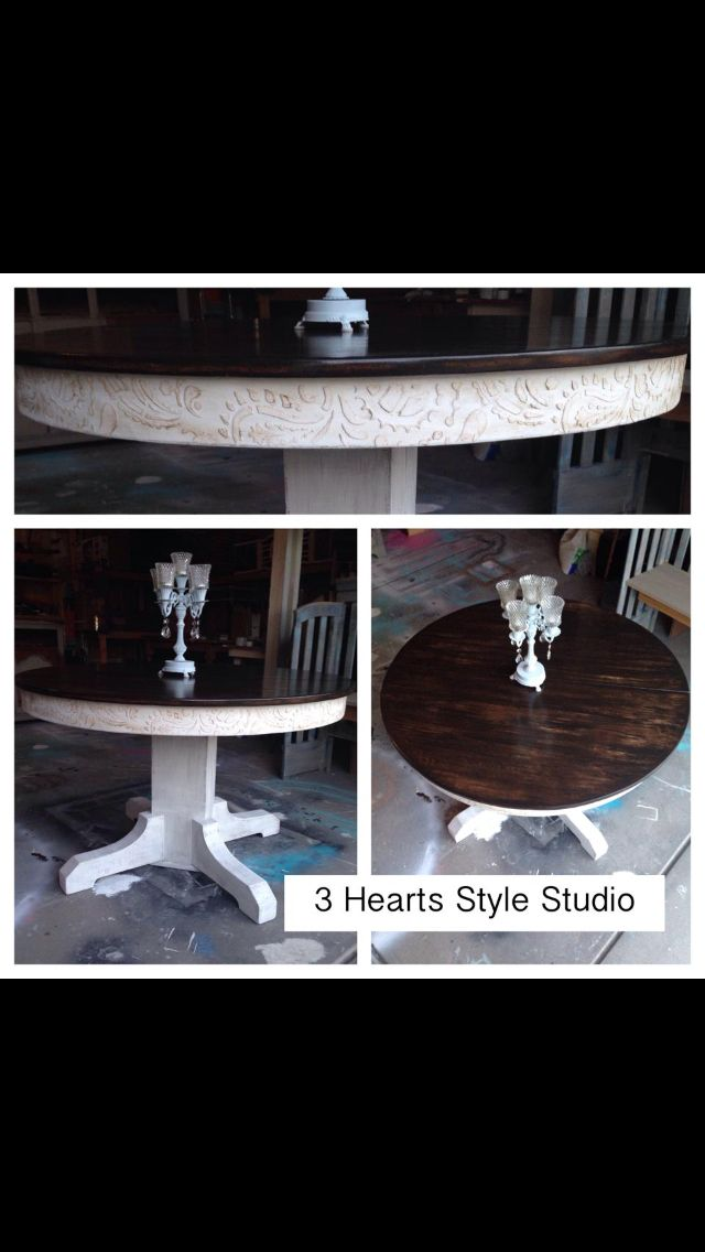 Rustic glam round kitchen table. Paisley trim. Refinished furniture. Painted fur...