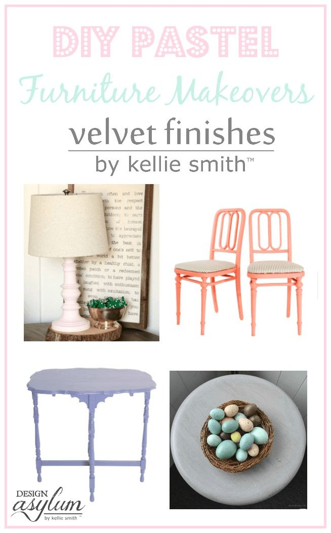 Take a look at these Pastel DIY Furniture Makeovers using Velvet Finishes Ethere...