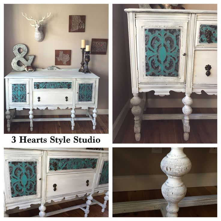Diy Furniture Teal And White Antique