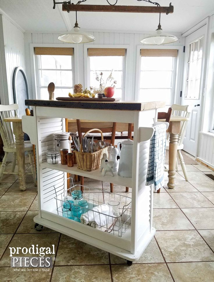 Towel Bars and Ample Storage Featured on this Upcycled Kitchen Island Cart by Pr...